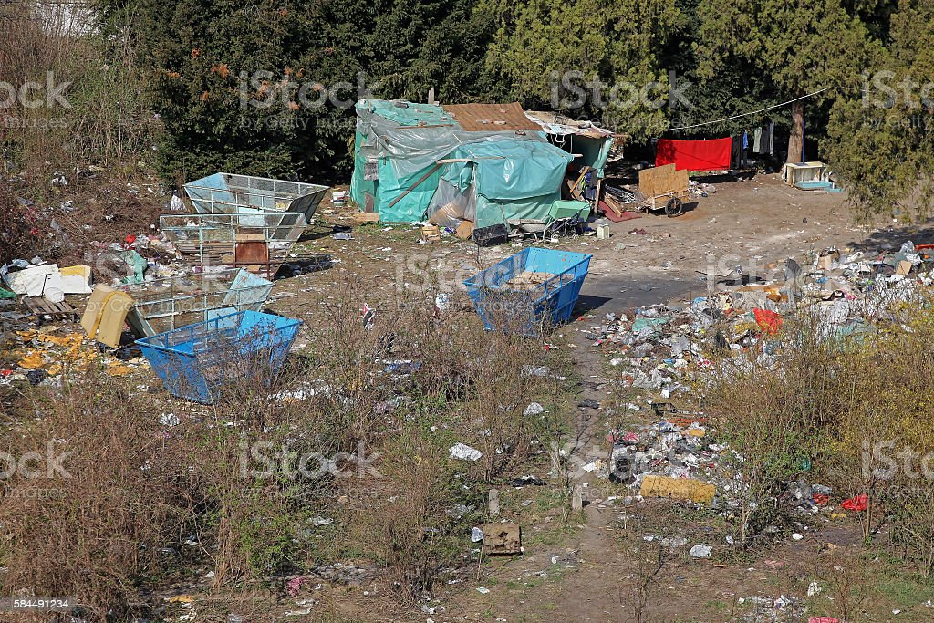 Illegal Gypsy Camp stock photo