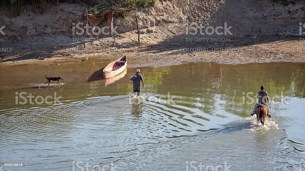 Illegal Mexican Immigrants Cross Rio Grande River Into Mexico stock photo