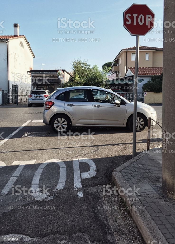 Illegally parked vehicle in Italy stock photo