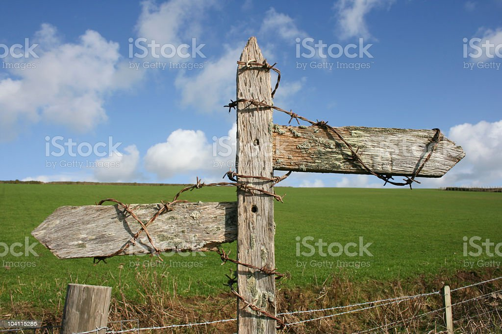 Illegible signpost with barbed wire looking weathered royalty-free stock photo