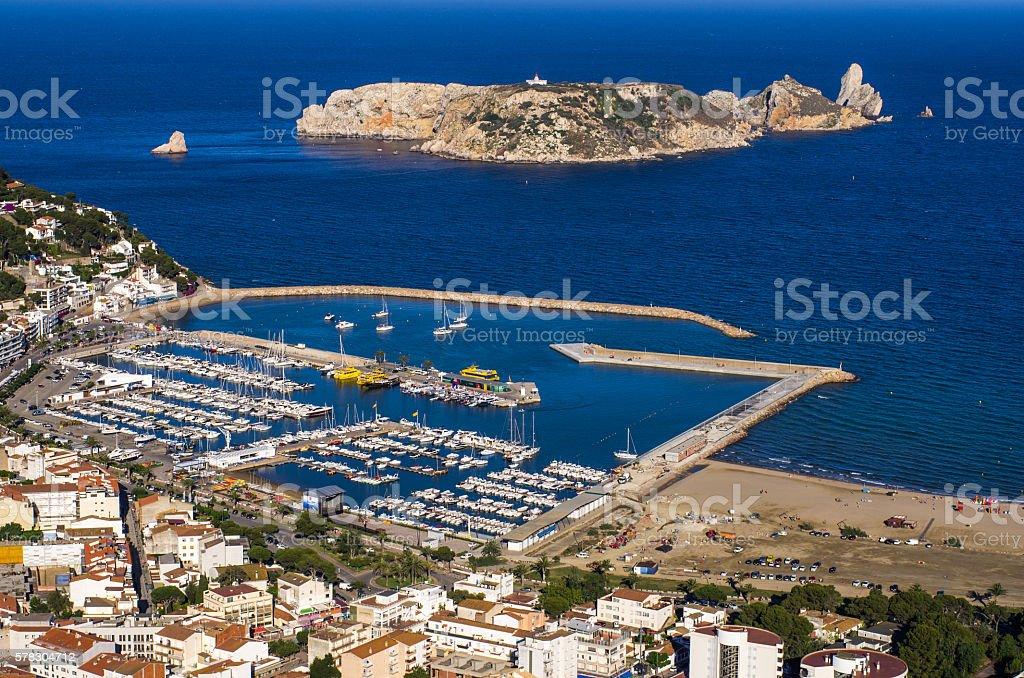 illes medes islas medas boat costa brava top view stock photo