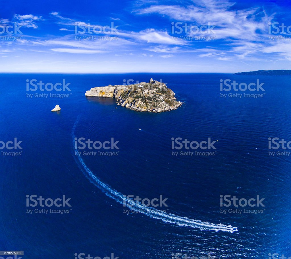 illes medes islas medas boat speed costa brava clouds drone stock photo
