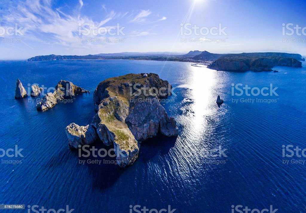 illes medes islas medas costa brava clouds drone top view stock photo