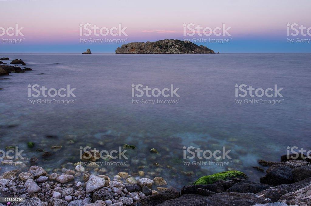 illes medes islas medas costa brava clouds twilight turqoise stock photo