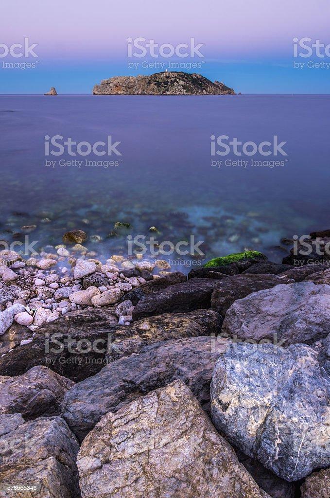 illes medes islas medas costa brava twilight turqoise estartit rock stock photo