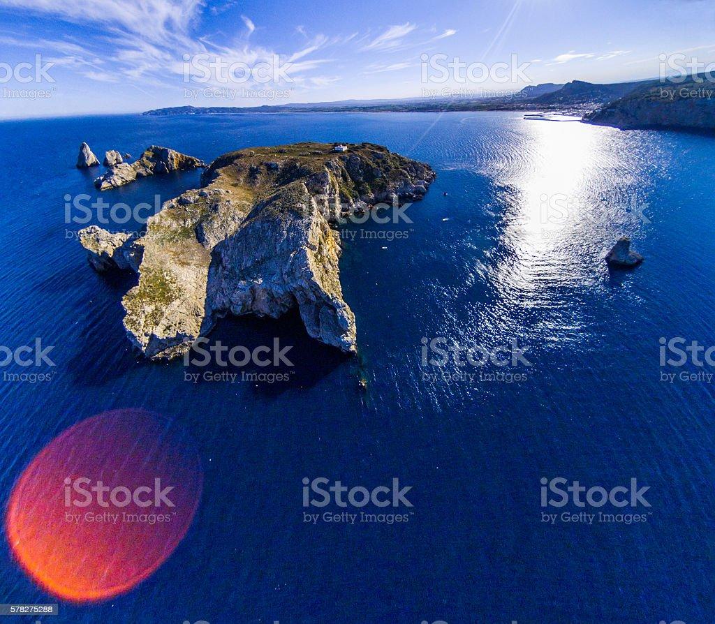 illes medes islas medas estartit costa brava drone top view stock photo