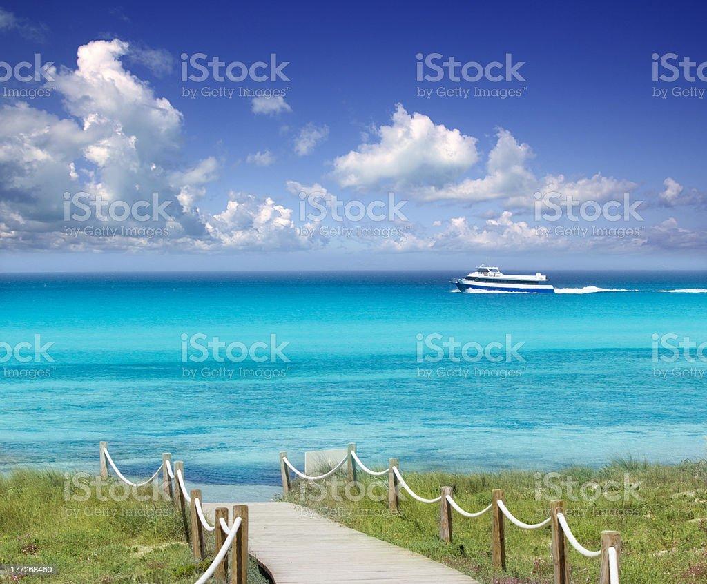 Illetas illetes beachn turquoise Formentera island royalty-free stock photo