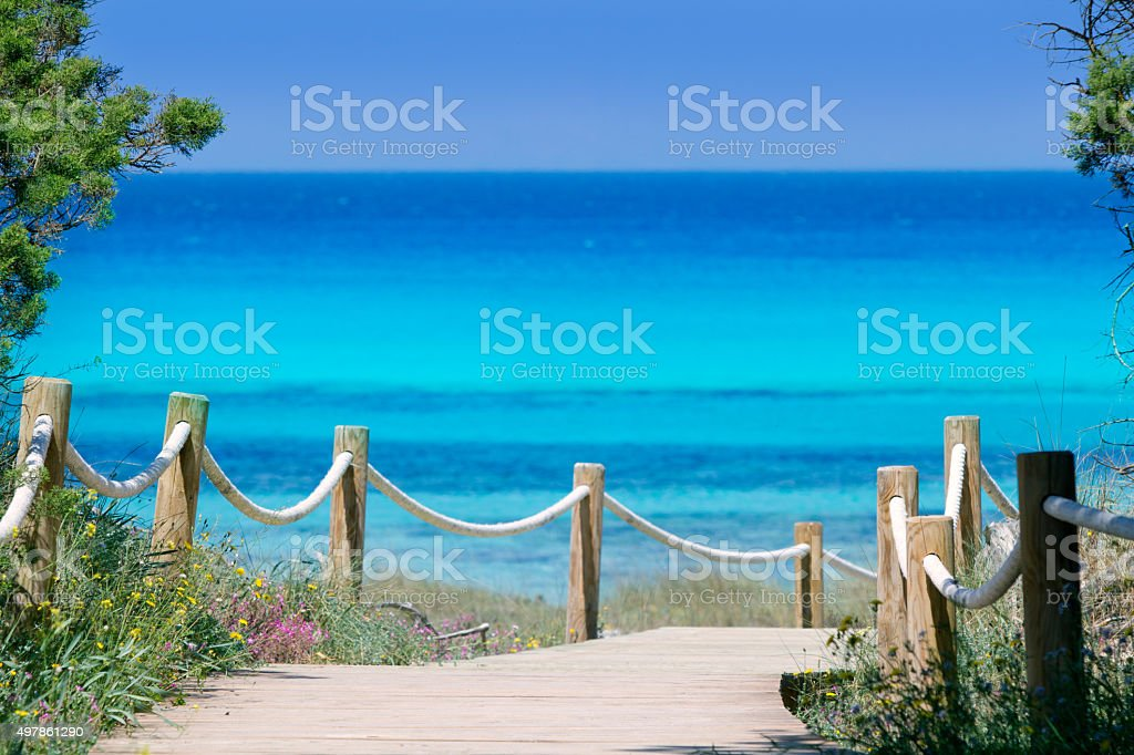 Illetas illetes beachn turquoise Formentera island stock photo