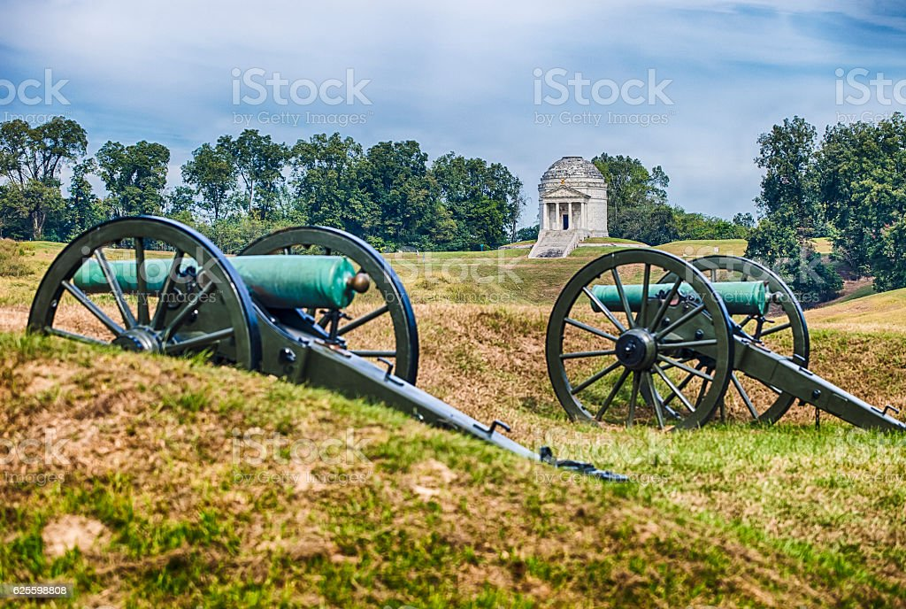 Illinois Monument And Cannons In Vicksburg, Mississippi stock photo