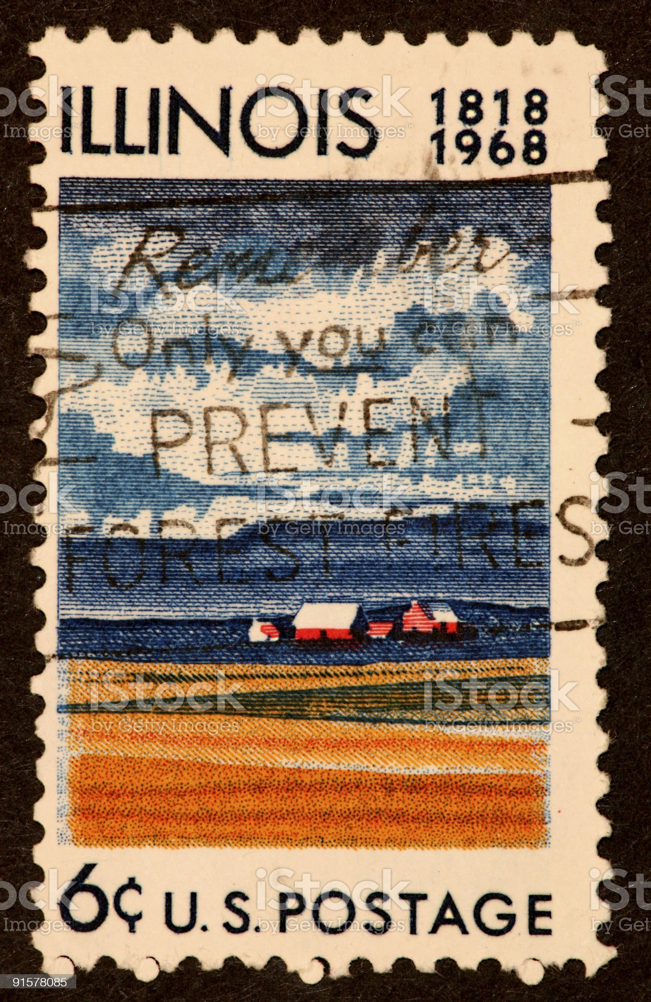 Illinois stamp 1968 royalty-free stock photo