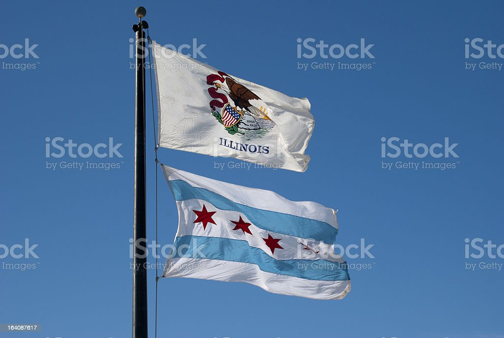 Illinois State  and Chicago City Flags stock photo