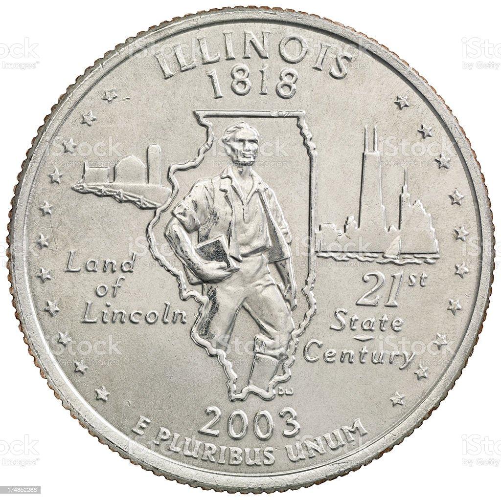 Illinois State Quarter Coin royalty-free stock photo