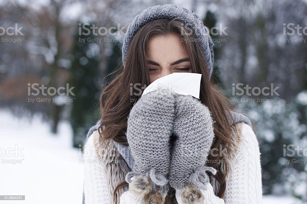 Illness in winter is very popular stock photo