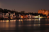 Illumianted Boathouse Row with Reflection in Philadelphia