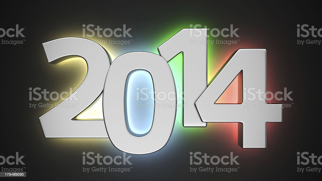 Illuminated 2014 royalty-free stock photo