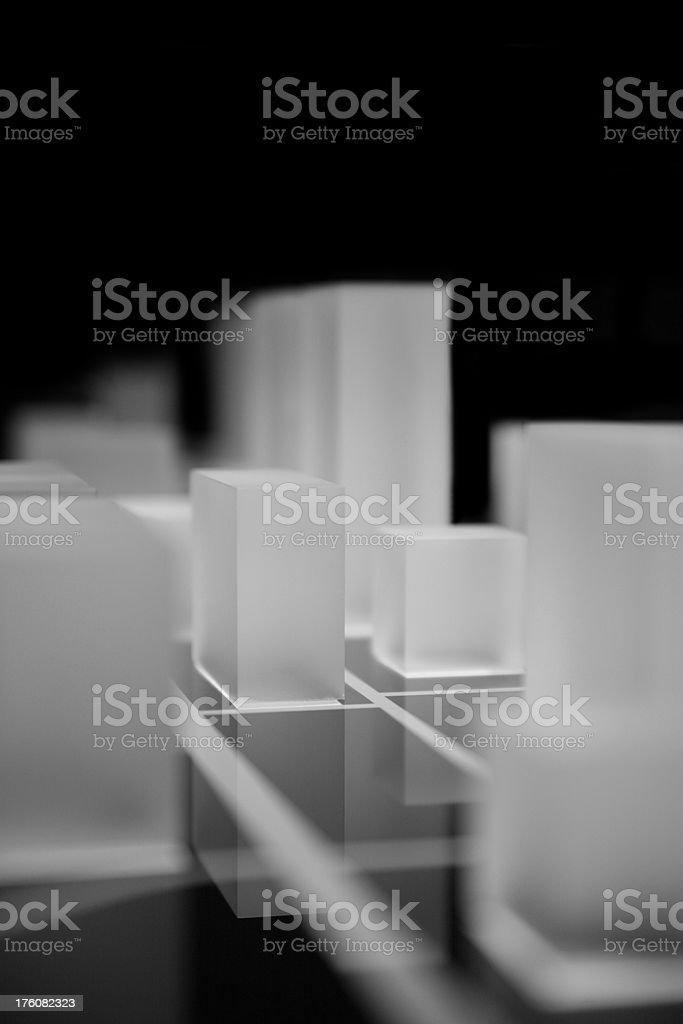 Illuminated acryl cubes on black royalty-free stock photo