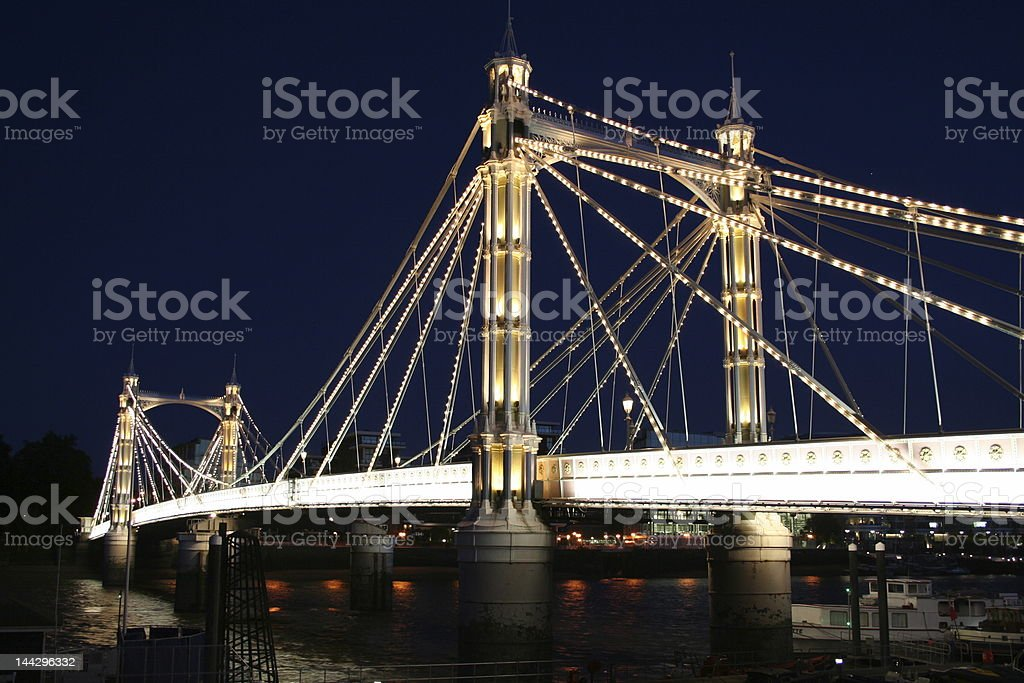 Illuminated Albert bridge, London stock photo