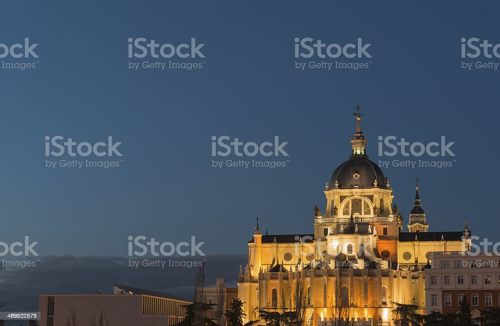 Illuminated Almudena Cathedral at night, Madrid royalty-free stock photo