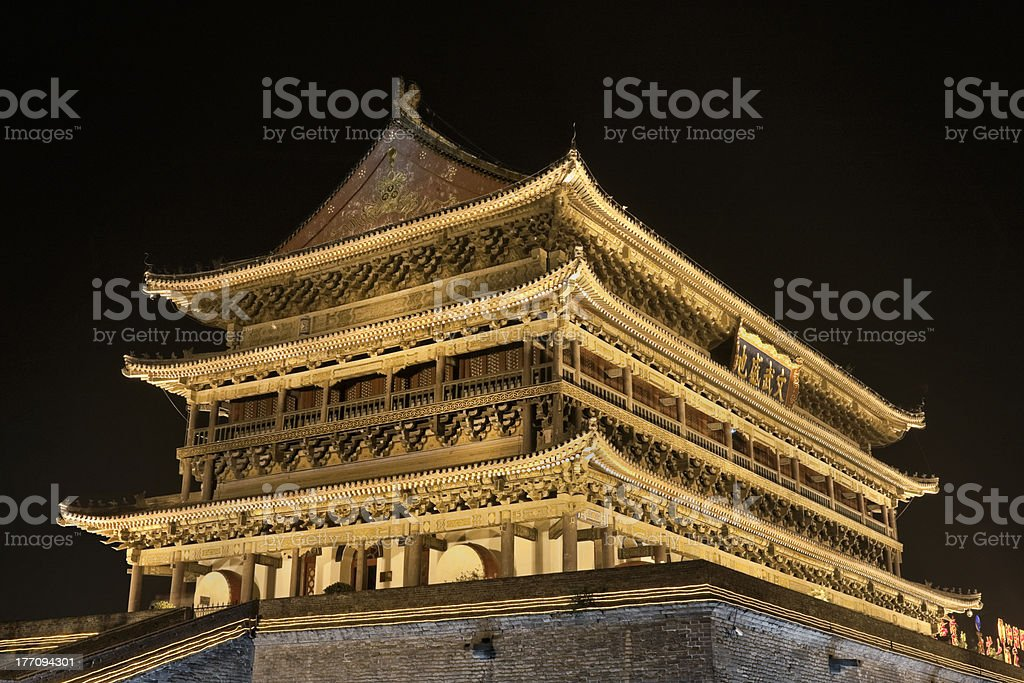 Illuminated ancient Xi'an Drum Tower royalty-free stock photo