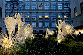 Illuminated Angels at Rockefeller center and Saks Fifth Avenue.