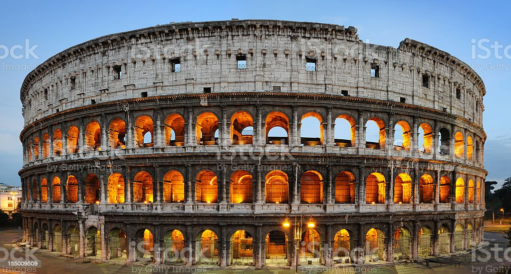 Illuminated arches, Coliseum ancient Roman Amphitheatre, Rome, Italy (XXXL) royalty-free stock photo