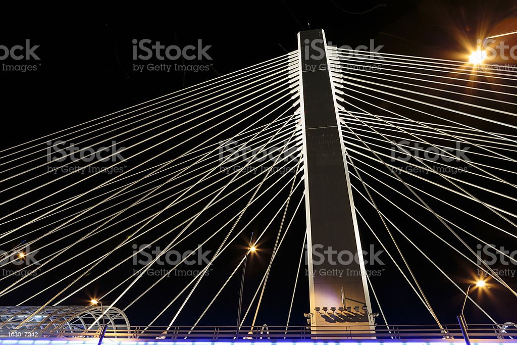 Illuminated Basarab Bridge royalty-free stock photo