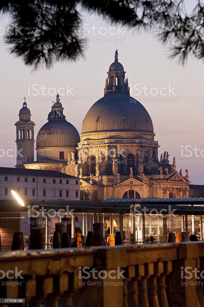 Basilica della Salute illuminated stock photo