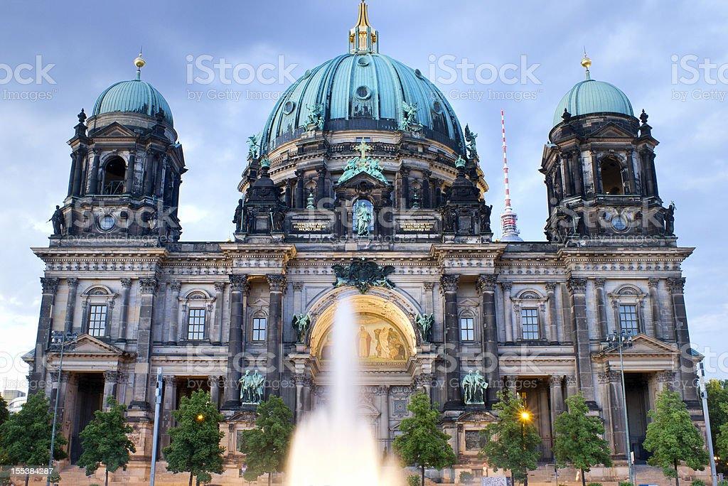 illuminated Berlin Cathedral stock photo