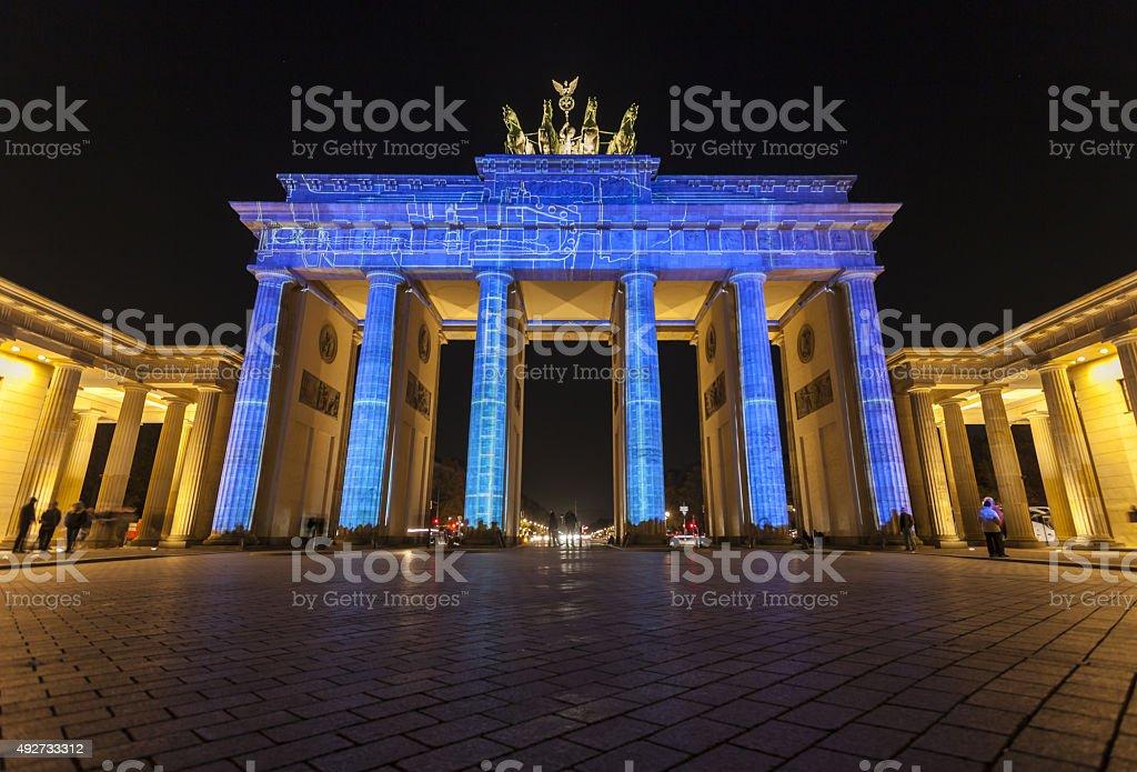 Illuminated Berlin Thor, Festival of Lights stock photo