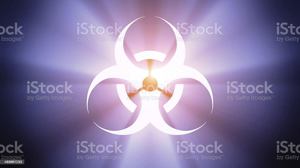 Illuminated biohazard stock photo