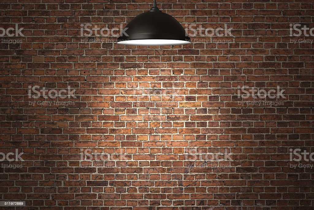 Illuminated birick wall background stock photo