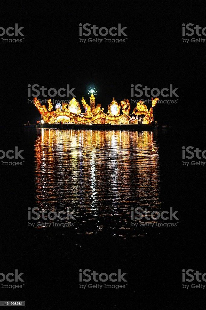 Illuminated boat festival in Isan royalty-free stock photo
