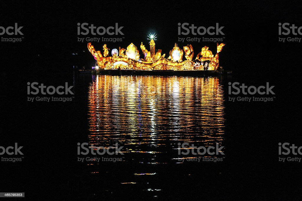 Illuminated boat festival in Isan royalty-free stock photo