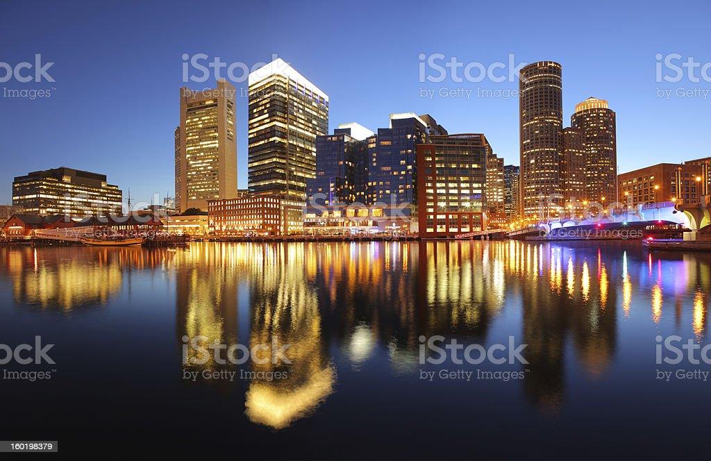 Illuminated Boston Cityscape at Sunset stock photo