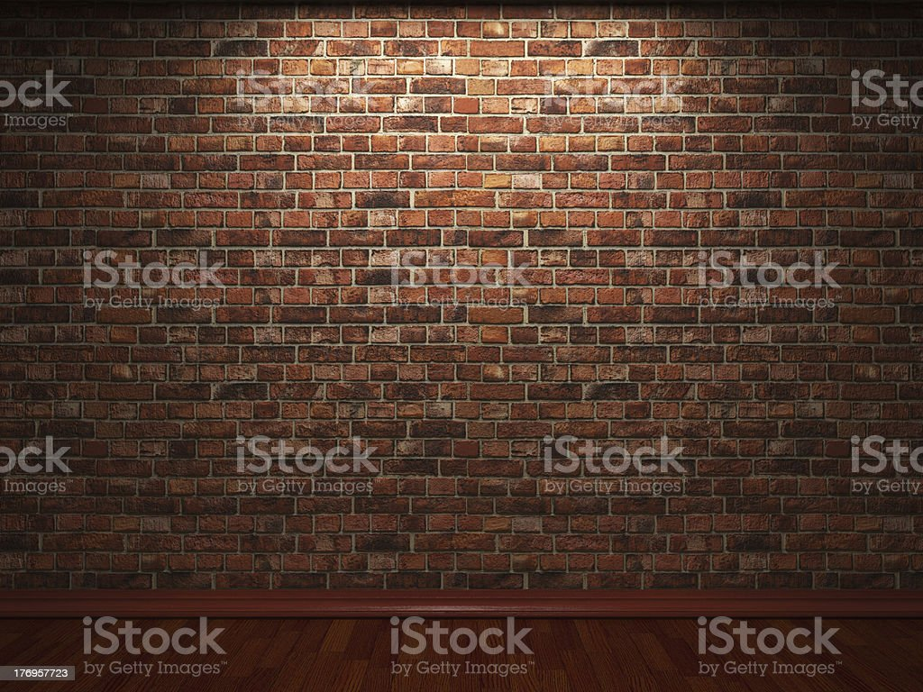 illuminated brick wall stock photo