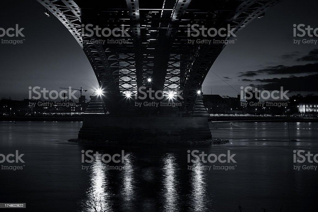 Illuminated bridge at night - low-angle view royalty-free stock photo