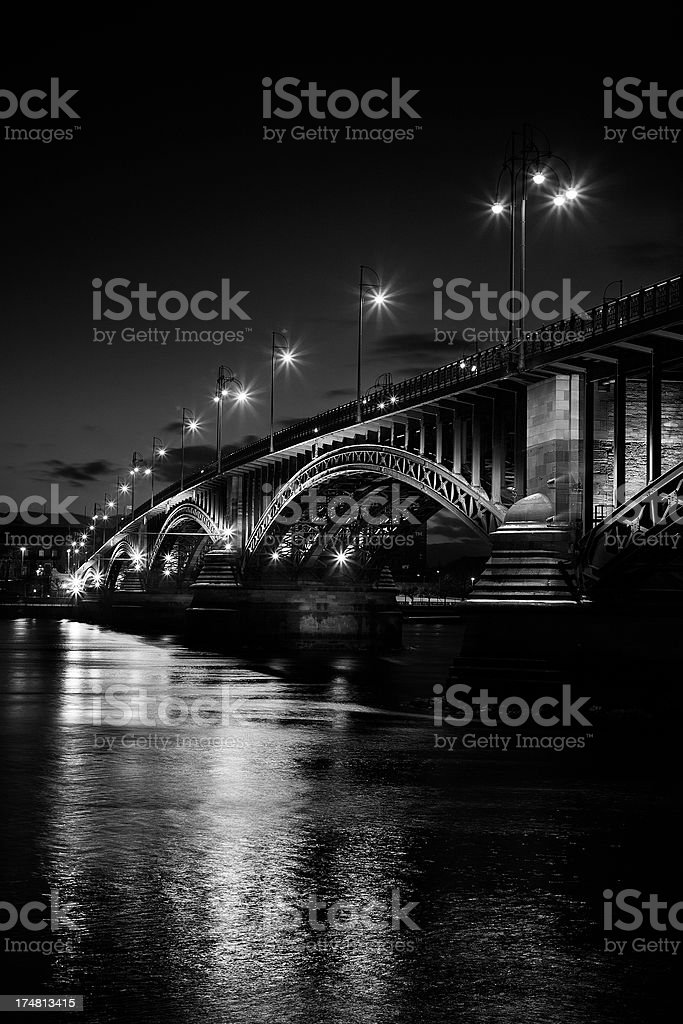 Illuminated bridge at night royalty-free stock photo