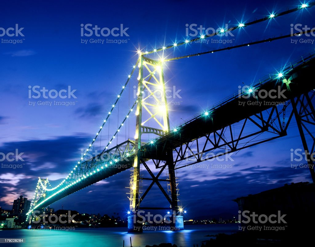 Illuminated bridge in Florianopolis, Brazil stock photo