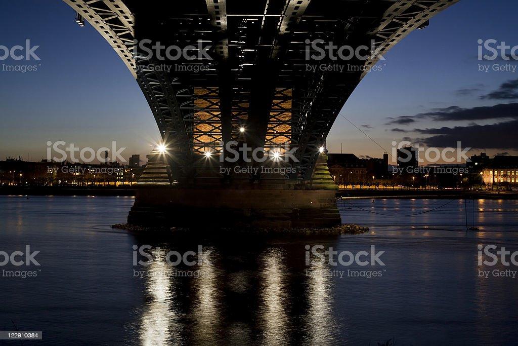 Illuminated bridge, low-angle view stock photo