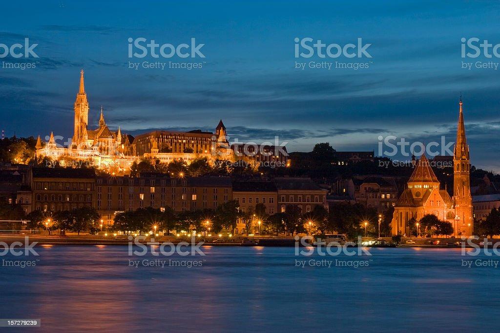 illuminated Buda hill, Budapest royalty-free stock photo