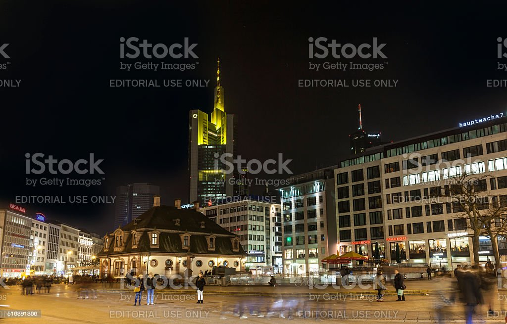 Illuminated buildings and skyline at night stock photo