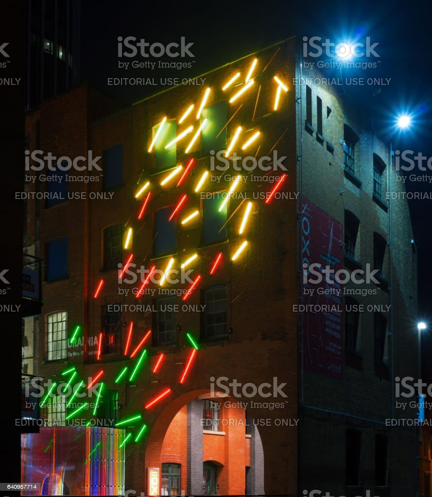 Illuminated buildings in London by the River Thames stock photo