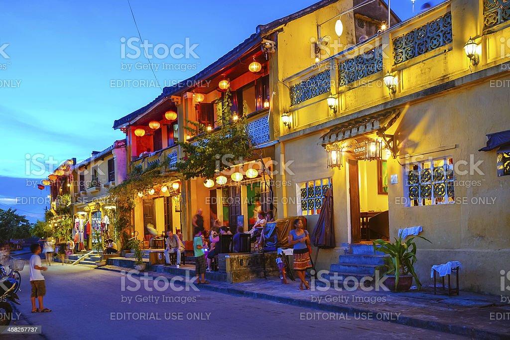 illuminated buildings of Hoi An, Vietnam royalty-free stock photo