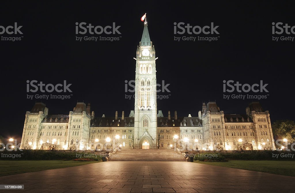Illuminated Canadian Parliament Building at Night royalty-free stock photo