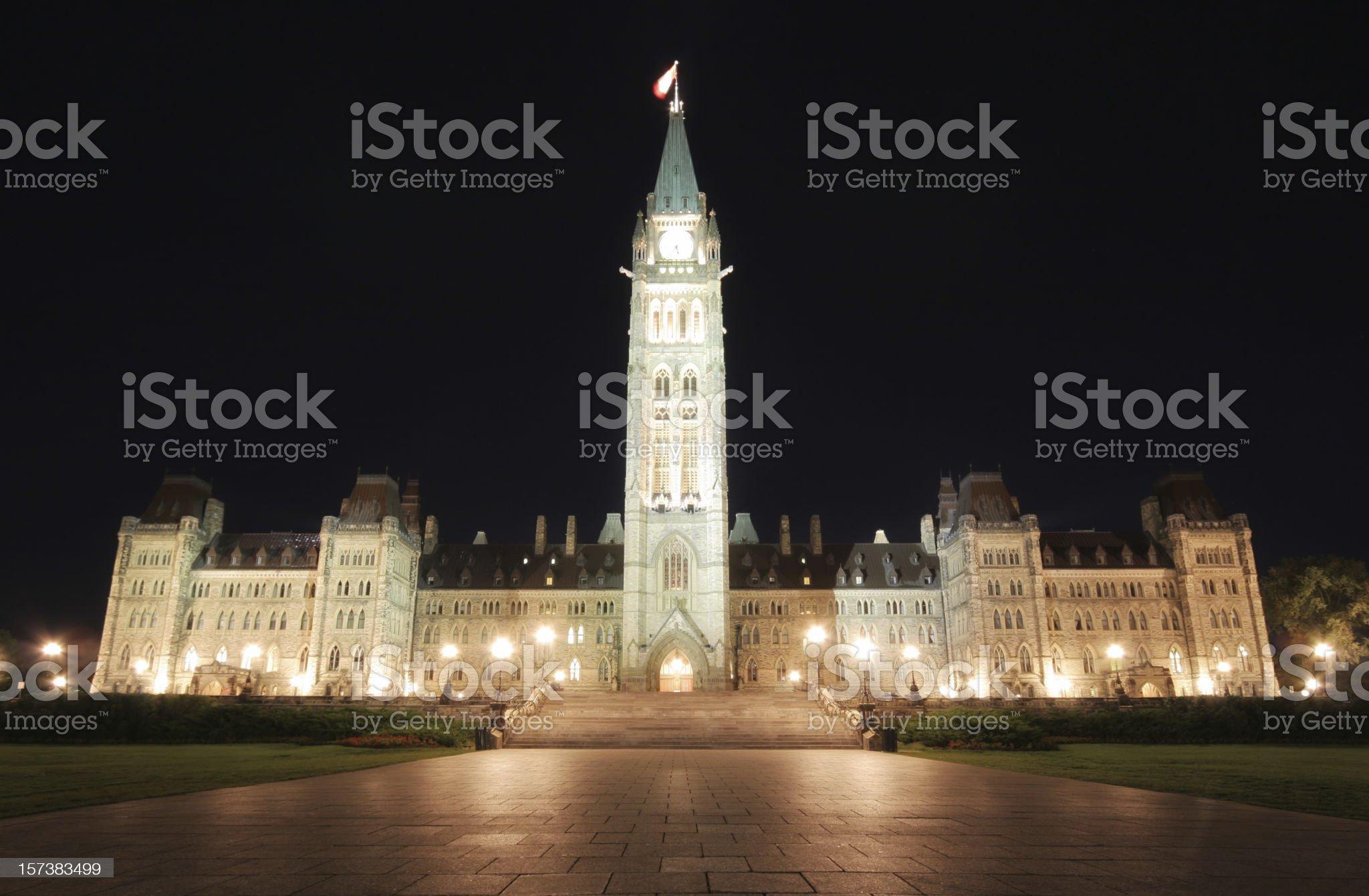 Illuminated Canadian Parliament Building at Night royalty-free stock photo