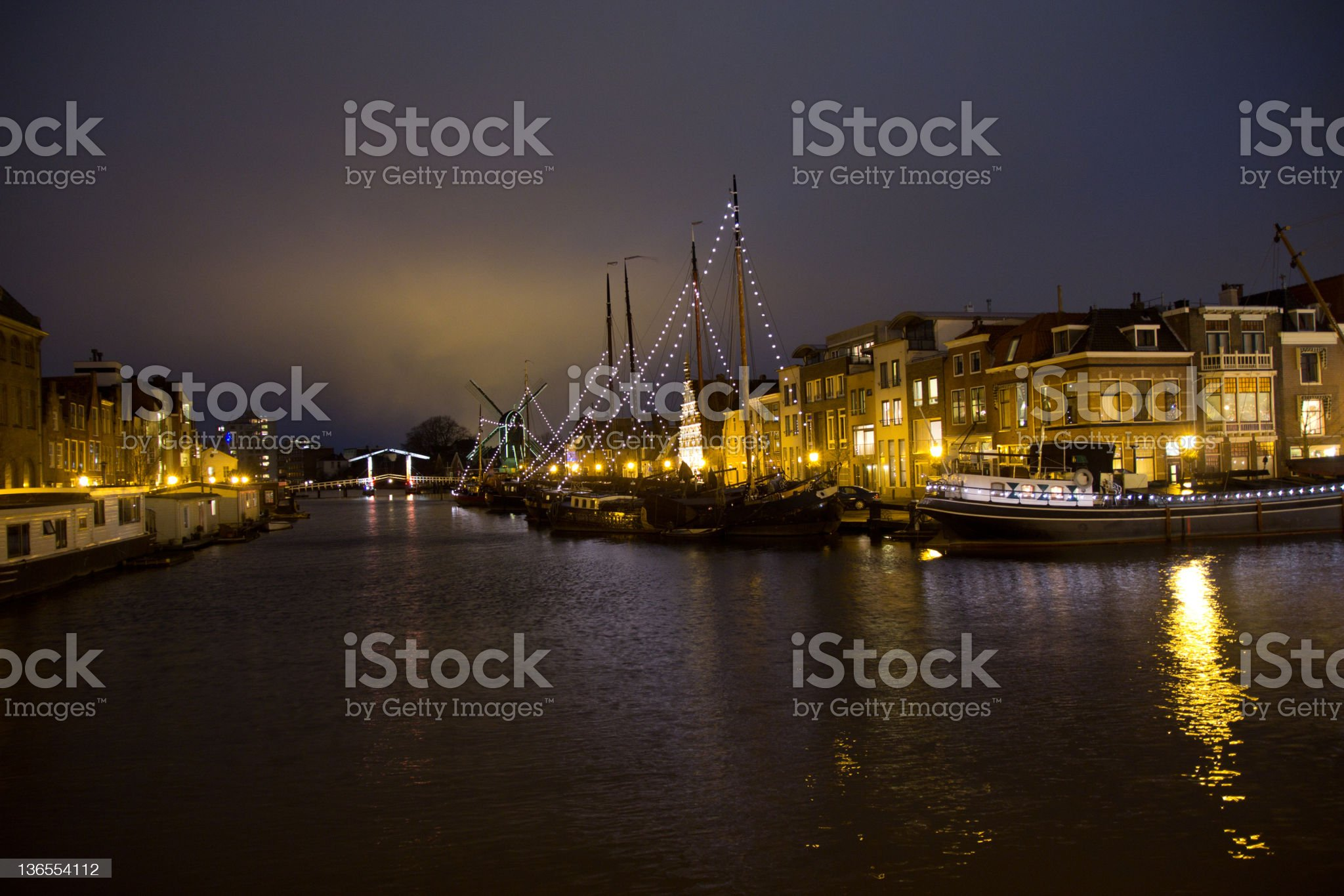 Illuminated canals in Holland during Christmas Time royalty-free stock photo