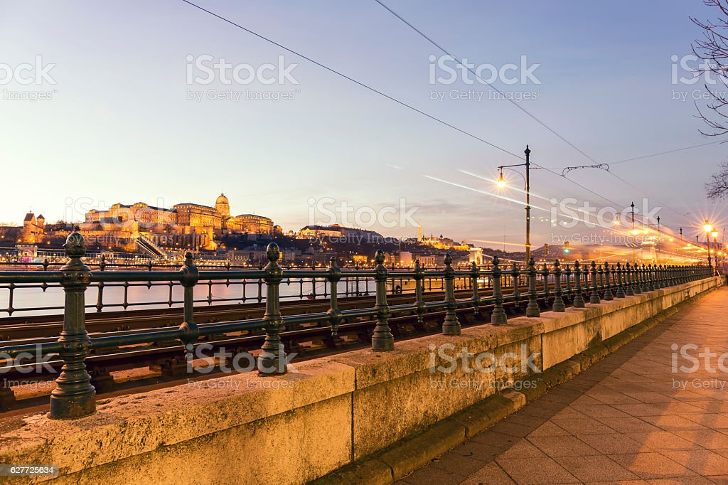 Illuminated Castle Hill and Chain Bridge in Budapest at night stock photo