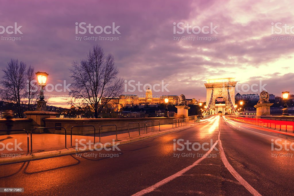 Illuminated Chain Bridge and Castle Hill in Budapest at night stock photo