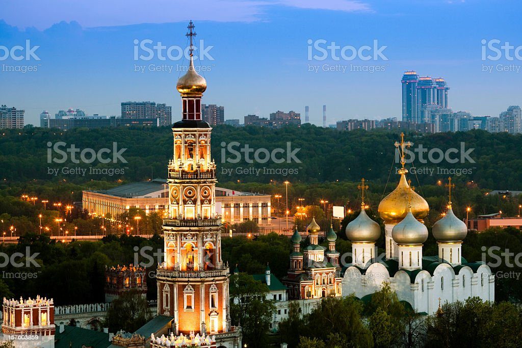 Illuminated Church and Bell Tower at twilight royalty-free stock photo