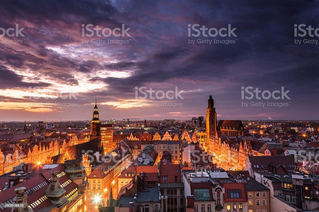 Illuminated city skyline at night, Wroclaw, Poland, Europe. stock photo